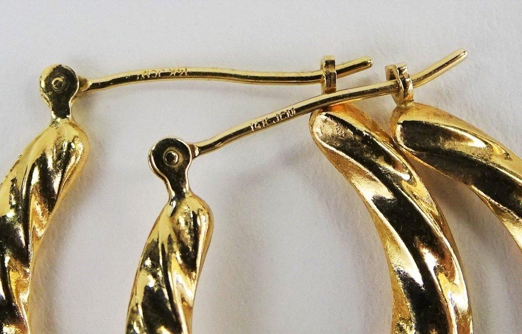 PR LADIES 14KT YELLOW GOLD HOOP EARRINGS - 3