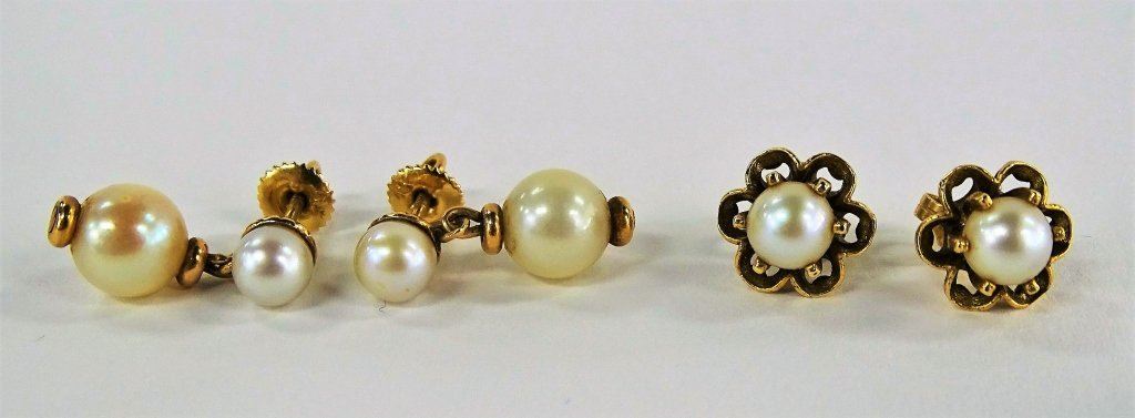 5PC VINTAGE 14KT YG & PEARL JEWELRY SUITE - 2