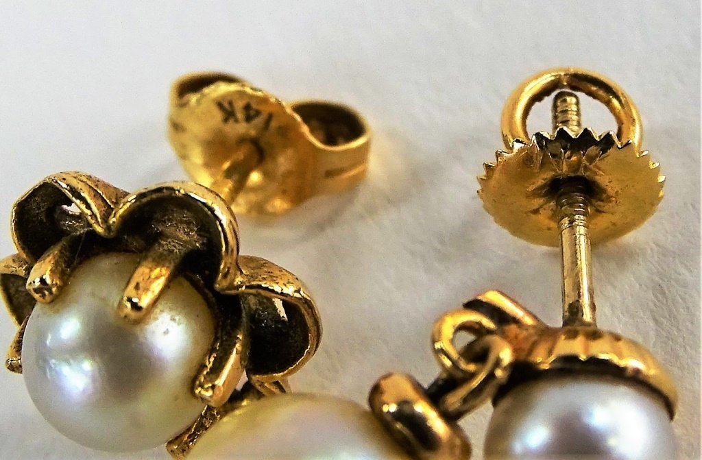 5PC VINTAGE 14KT YG & PEARL JEWELRY SUITE - 3