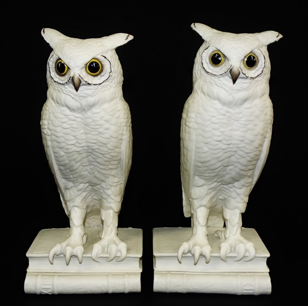 PAIR OF BOEHM WHITE BISQUE PORCELAIN OWL BOOKENDS