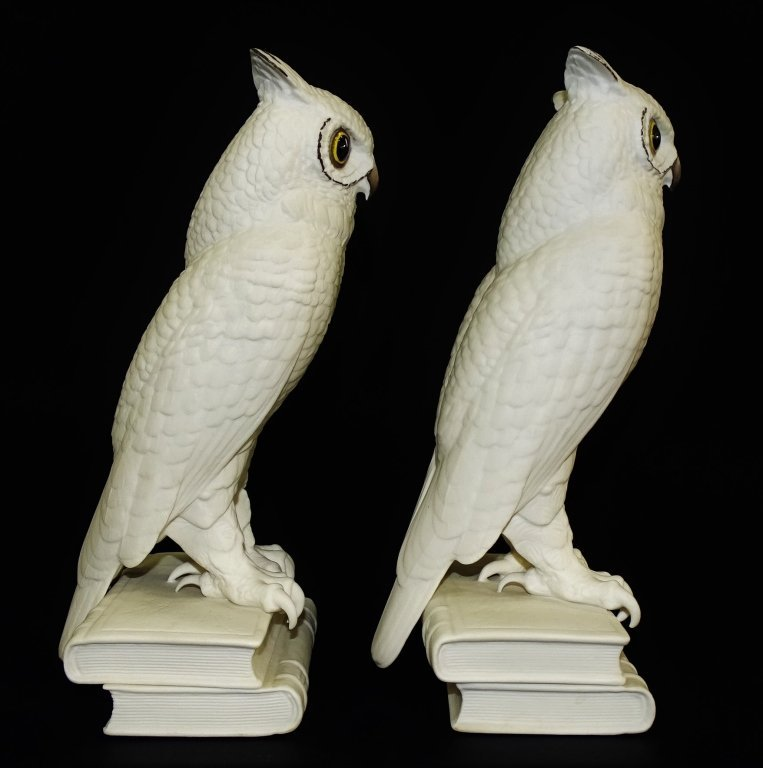 PAIR OF BOEHM WHITE BISQUE PORCELAIN OWL BOOKENDS - 2