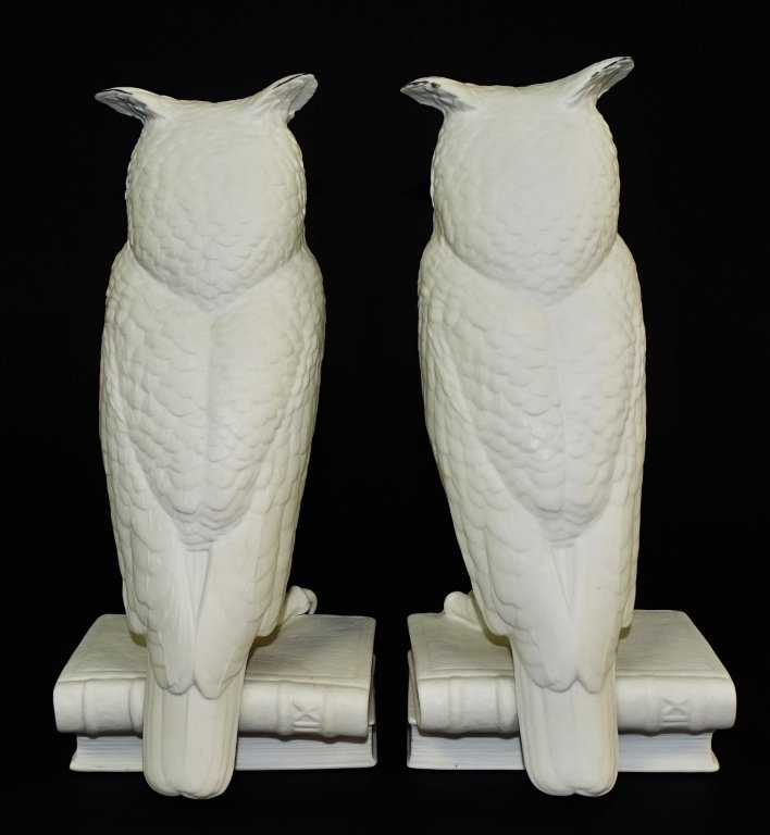 PAIR OF BOEHM WHITE BISQUE PORCELAIN OWL BOOKENDS - 3