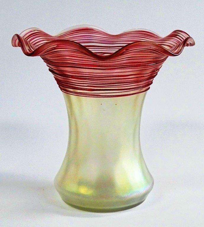 VINTAGE ART GLASS FLOWER FORM STUDIO VASE SIGNED