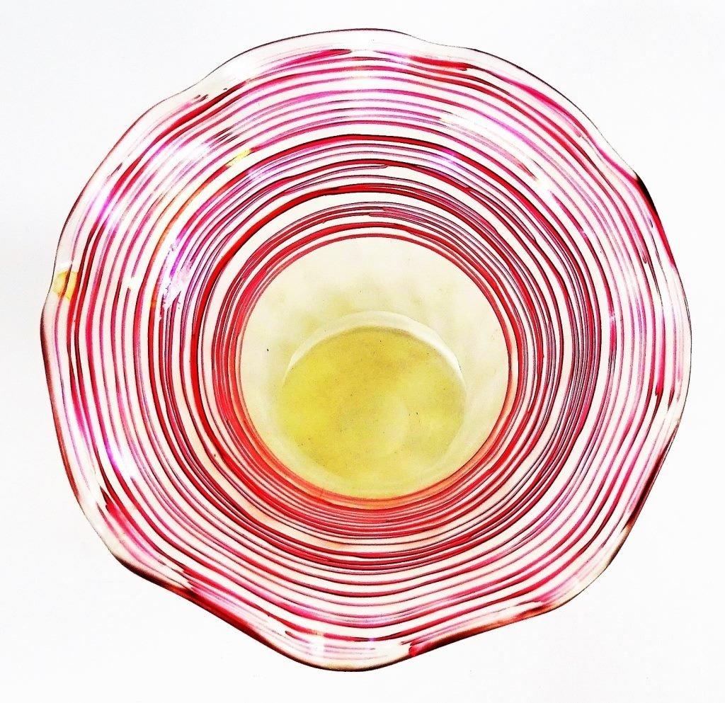 VINTAGE ART GLASS FLOWER FORM STUDIO VASE SIGNED - 3