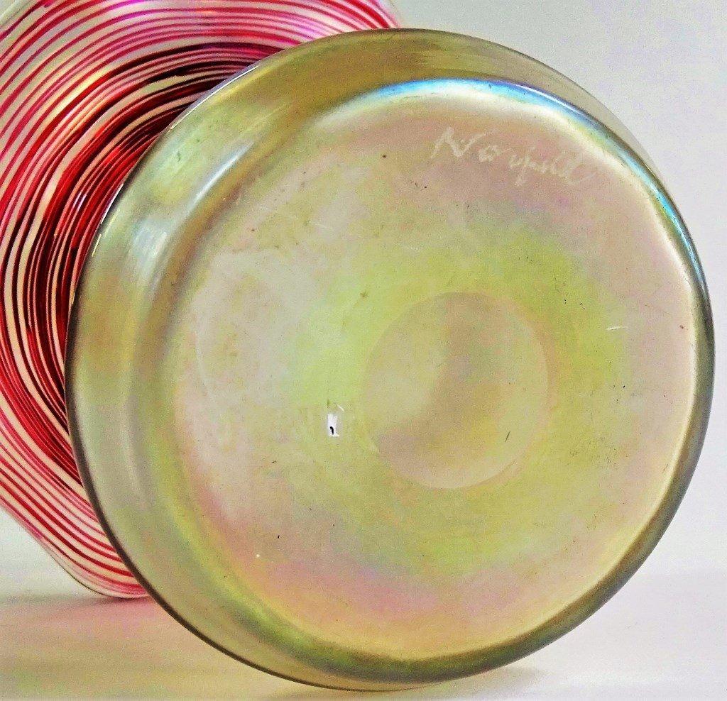 VINTAGE ART GLASS FLOWER FORM STUDIO VASE SIGNED - 4