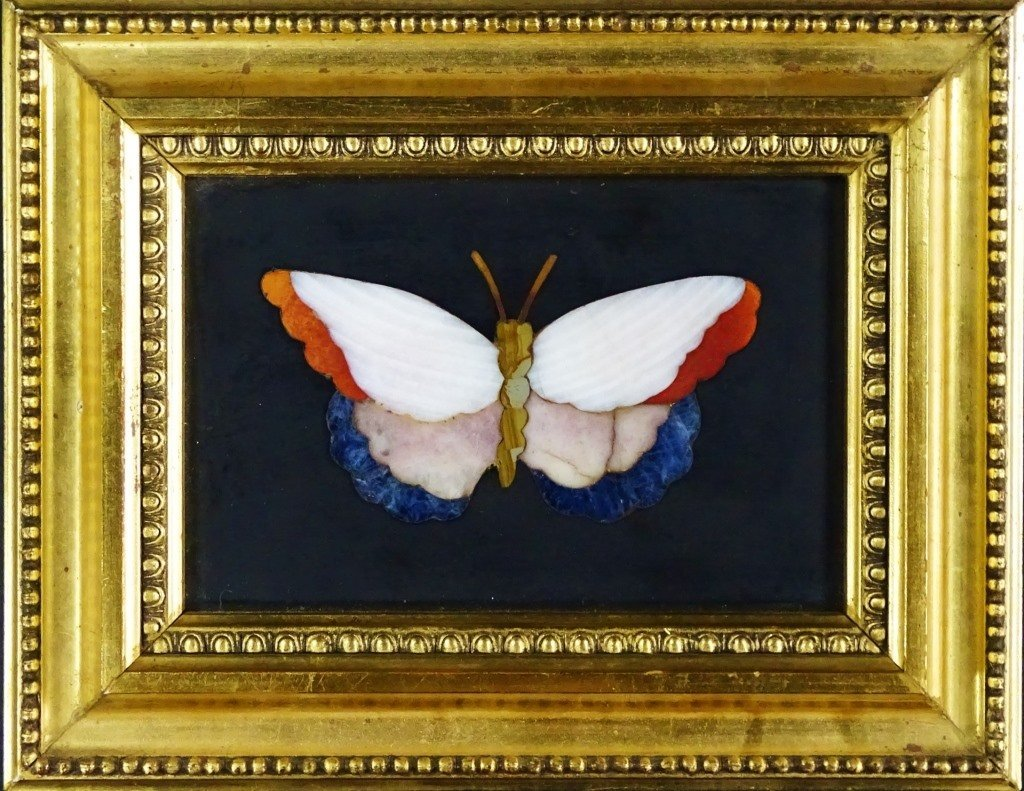 SMALL FRAMED PIETRA DURA OF A BUTTERFLY PLAQUE
