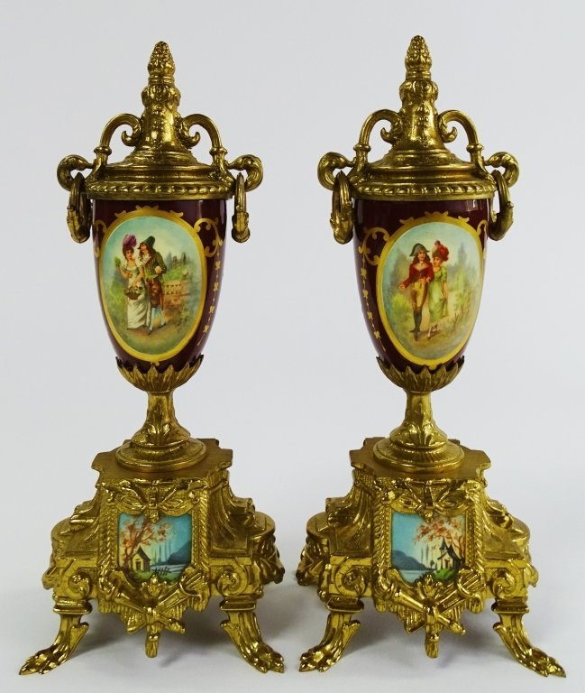 PAIR OF VINTAGE GOLD GILDED URN WITH LOVE SCENE