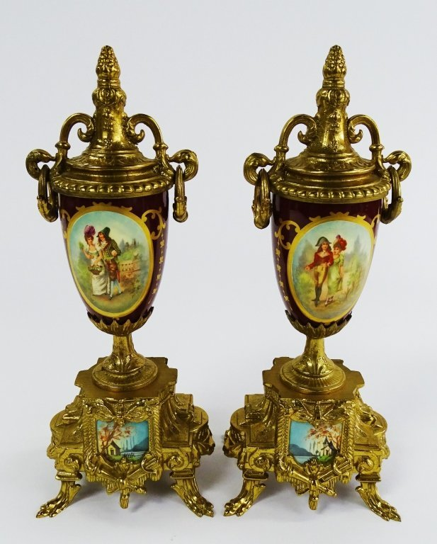PAIR OF VINTAGE GOLD GILDED URN WITH LOVE SCENE - 2