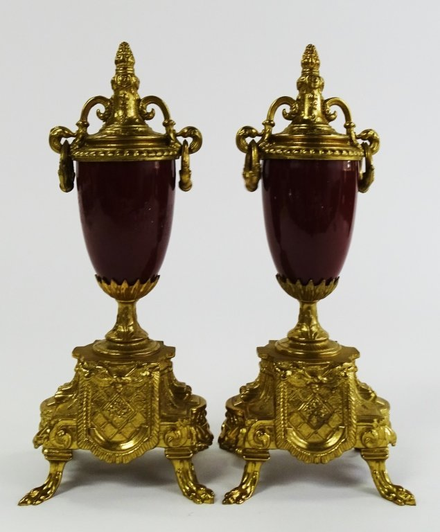 PAIR OF VINTAGE GOLD GILDED URN WITH LOVE SCENE - 5