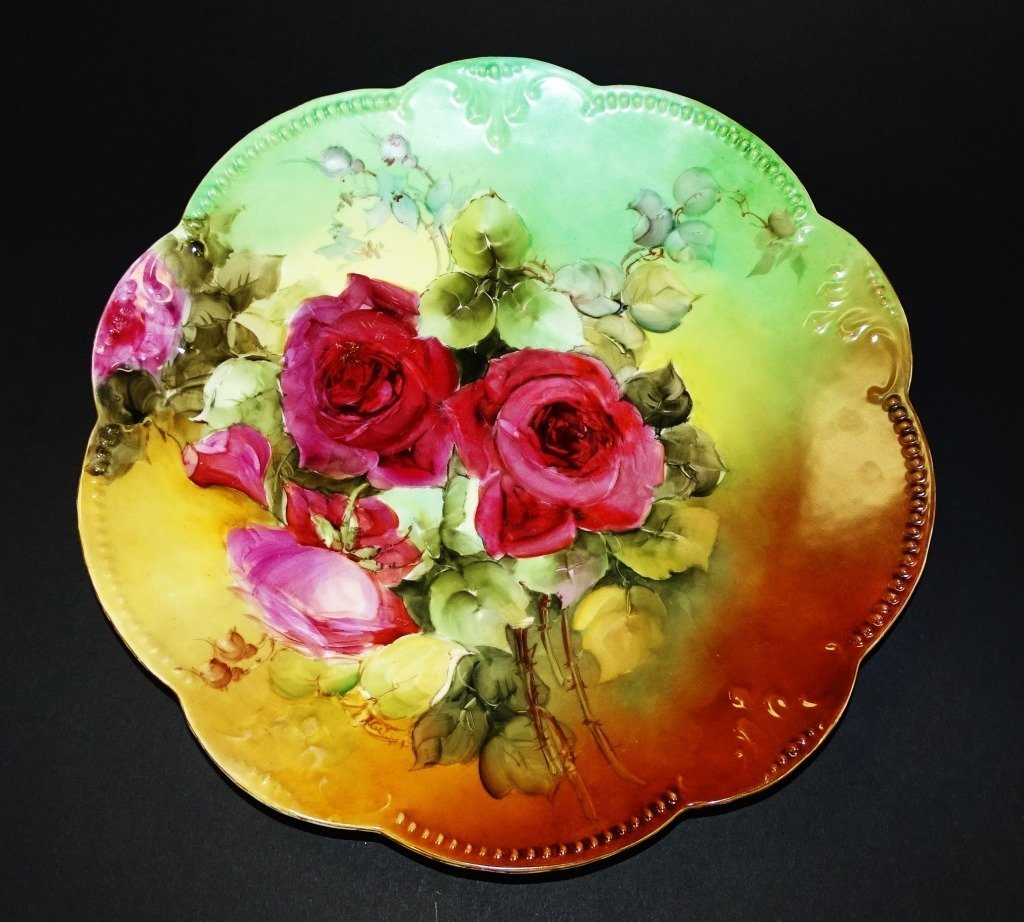 LIMOGES FRANCE HAND PAINTED PINK ROSE CHARGER - 2