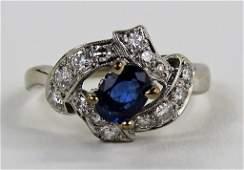 LADIES 14KT WHITE GOLD SAPPHIRE  DIAMOND RING