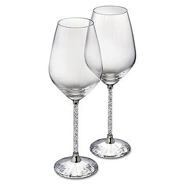 SIGNATURE SWAROVSKI 'CRYSTALLINE' WINE GLASSES w/ BOX