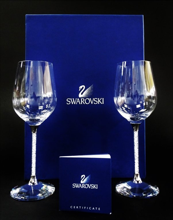 SIGNATURE SWAROVSKI 'CRYSTALLINE' WINE GLASSES w/ BOX - 2