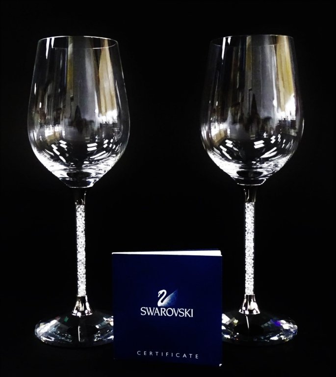 SIGNATURE SWAROVSKI 'CRYSTALLINE' WINE GLASSES w/ BOX - 3