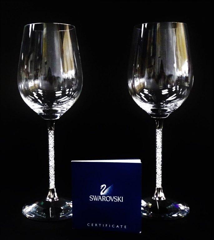 SIGNATURE SWAROVSKI 'CRYSTALLINE' WINE GLASSES w/ BOX - 3