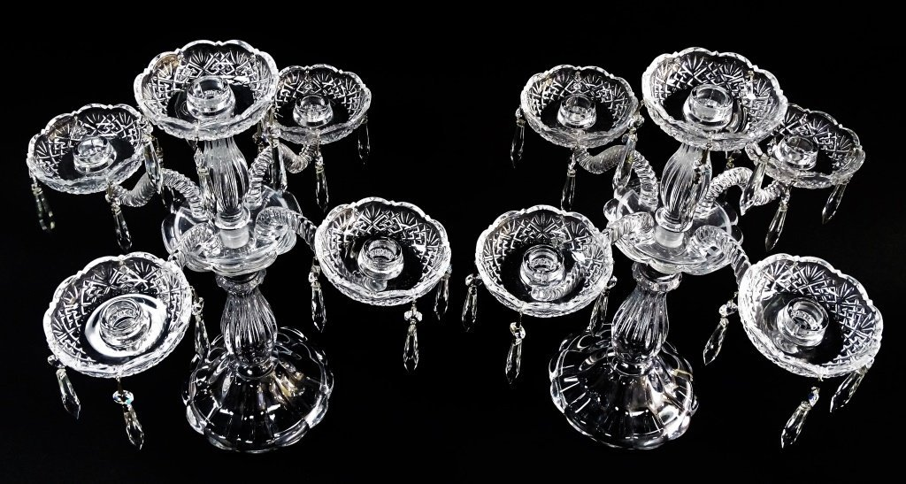 PAIR OF VINTAGE CUT CRYSTAL GLASS CANDLESTICKS - 3