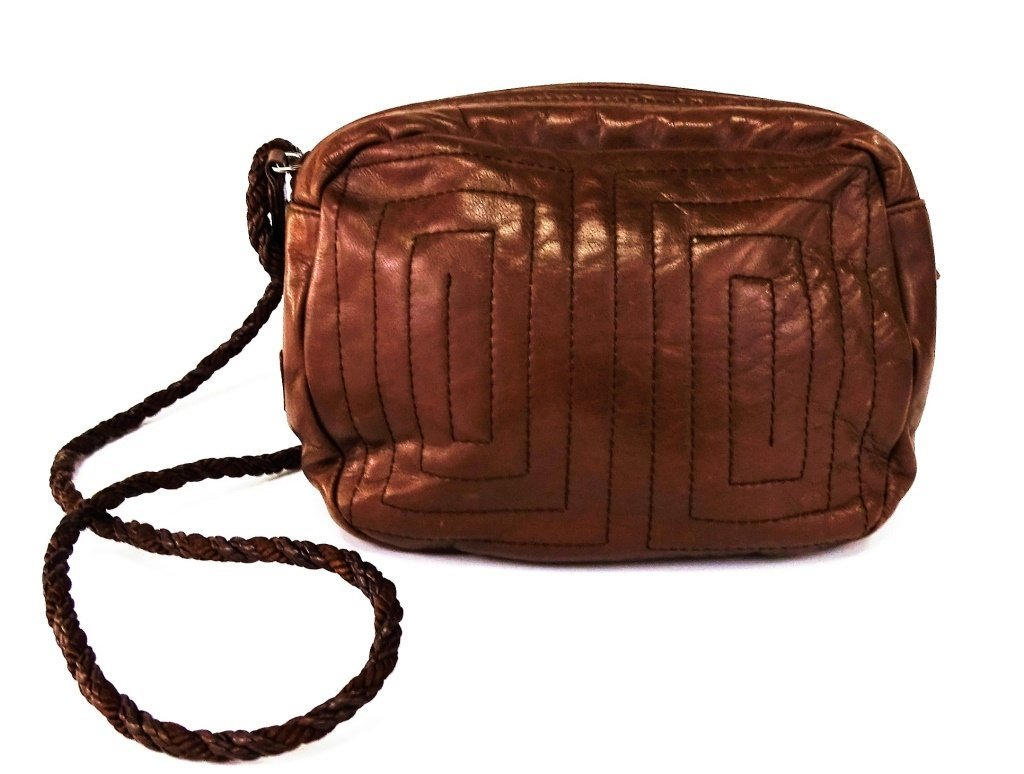 VINTAGE PRADA LEATHER BROWN SQUARE BAG - 2