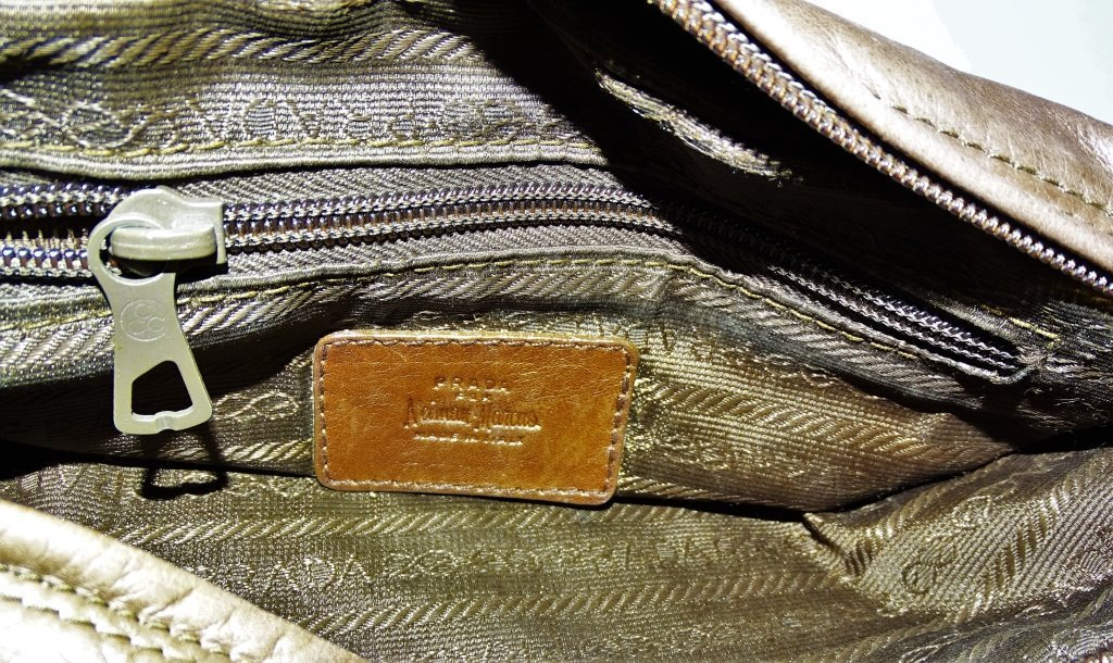 VINTAGE PRADA LEATHER BROWN SQUARE BAG - 3