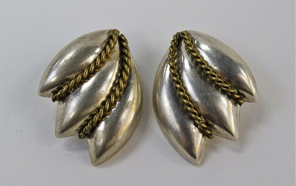 PR LATON TAXCO STERLING SILVER CLIP EARRINGS