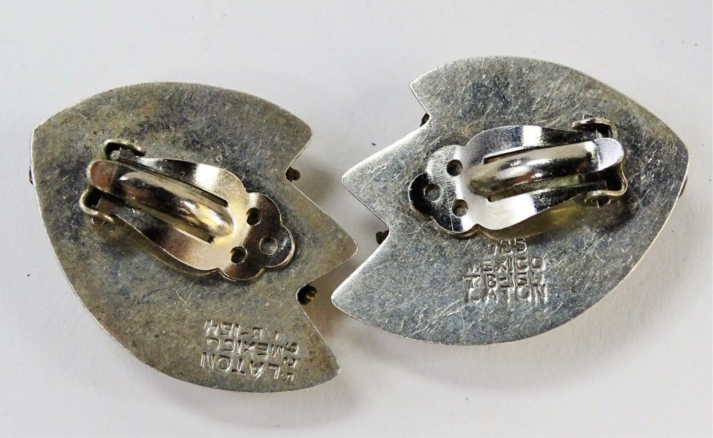 PR LATON TAXCO STERLING SILVER CLIP EARRINGS - 4