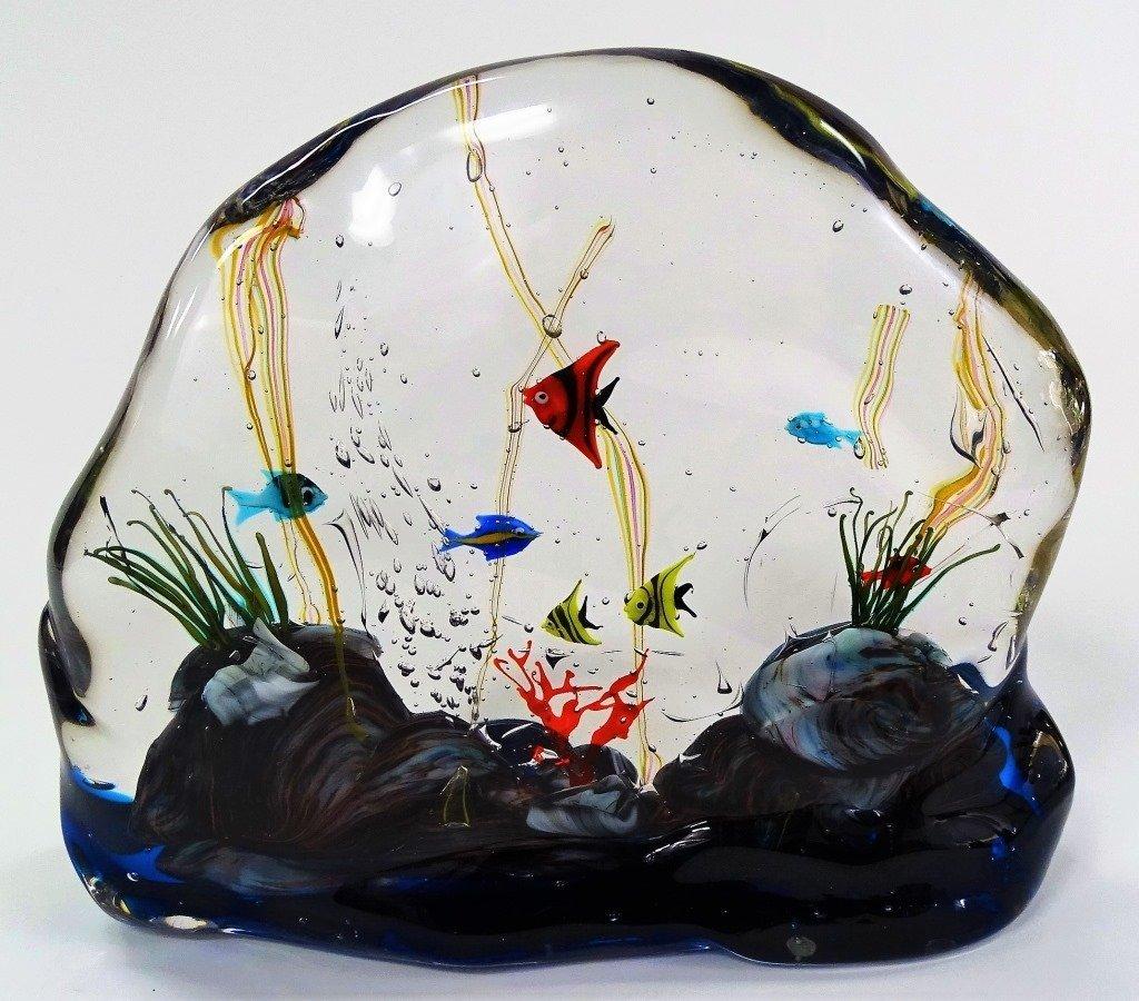 MURANO ART GLASS FISH AQUARIUM SCULPTURE - 2