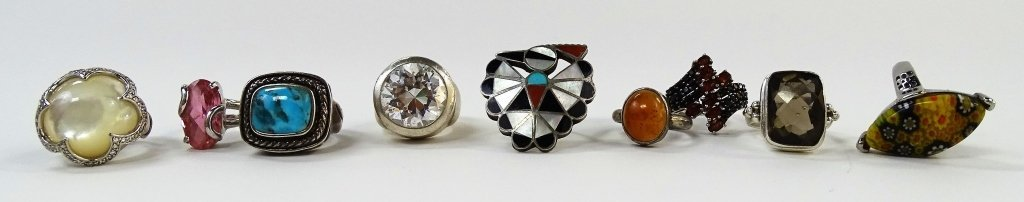 LOT OF 9 STERLING SILVER SEMI-PRECIOUS RINGS