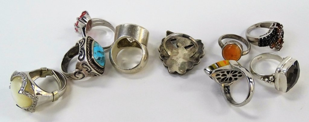 LOT OF 9 STERLING SILVER SEMI-PRECIOUS RINGS - 2