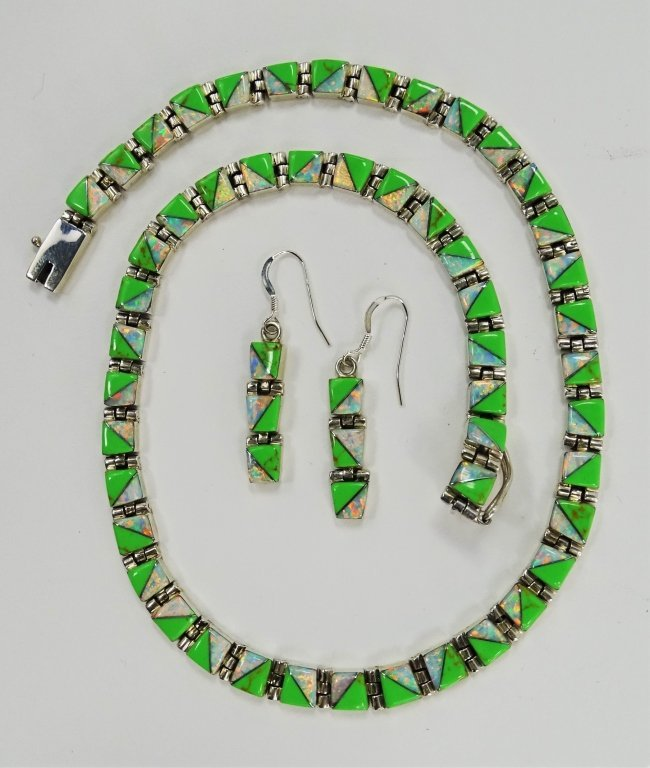3PC NAVAJO OPAL & STONE INLAY STERLING LINK SUITE