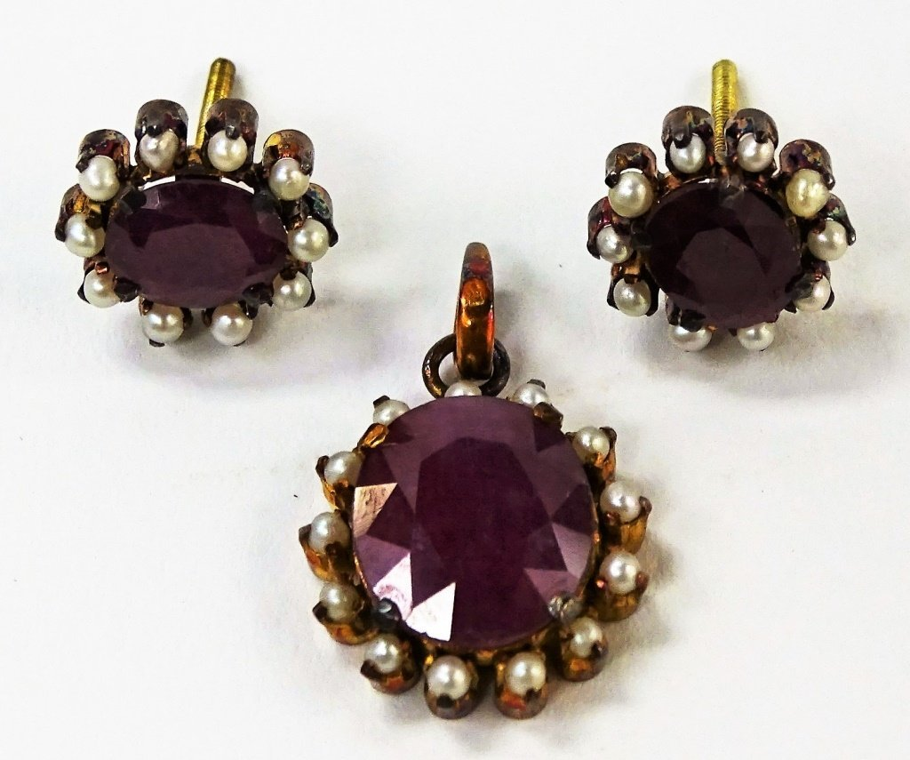 3PC VICTORIAN ERA 18KT RG RUBY & SEED PEARL SUITE