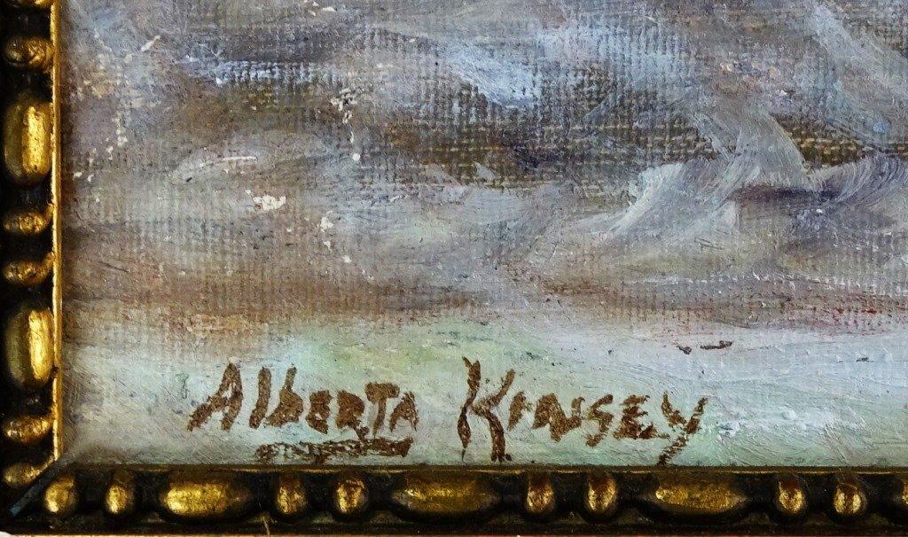 ALBERTA KINSEY ORIGINAL YARD SCENE OIL ON BOARD - 3