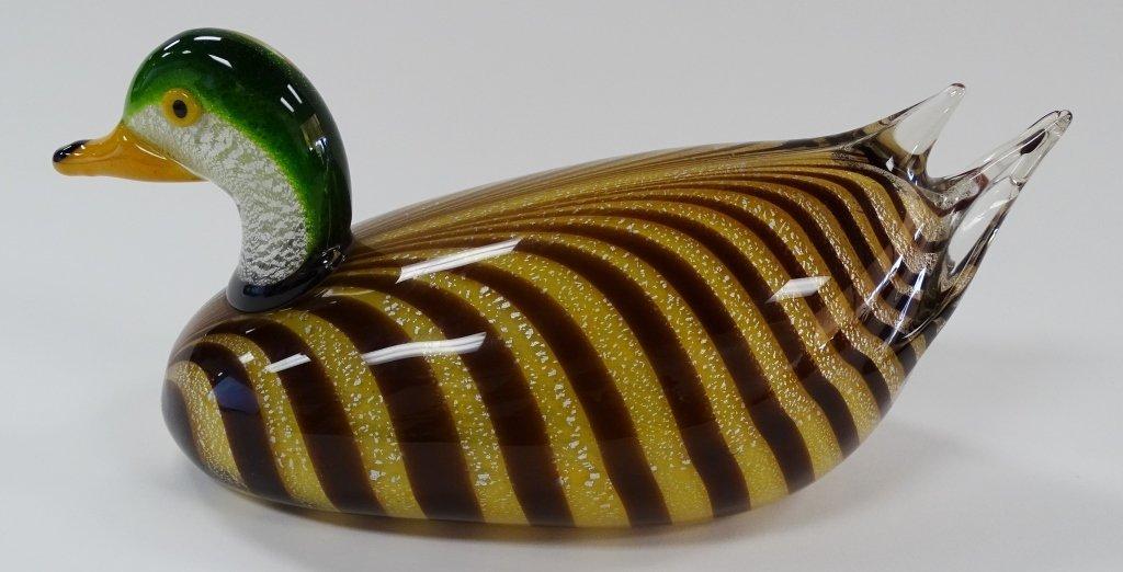 LARGE GLASS MURANO DUCK SIGNED AGGOTI - 3