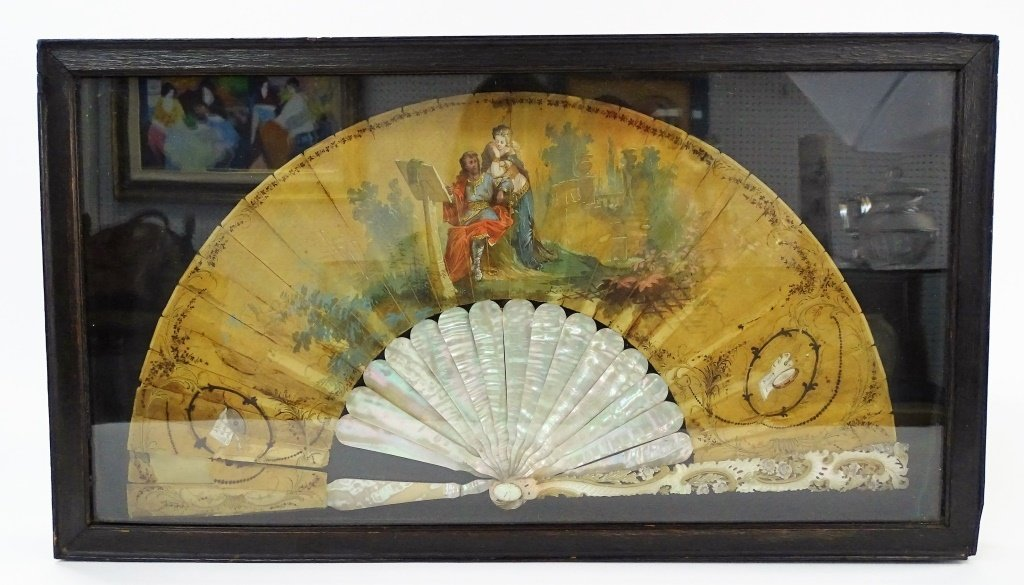 VINTAGE FRAMED SHADOW BOX WITH HAND PAINTED FAN