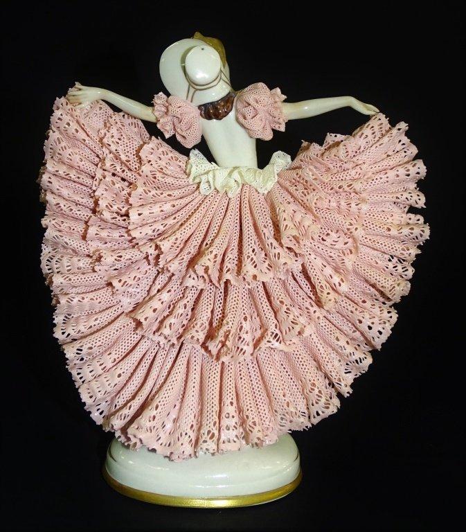 VINTAGE DRESDEN PINK LACE DANCING WOMAN FIGURINE - 3