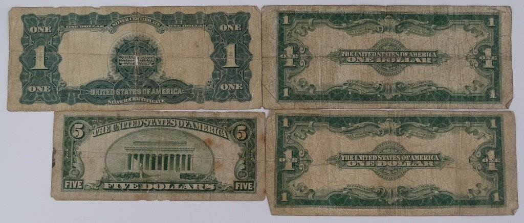 4PC LOT OF OLD CURRENCY ONE & FIVE DOLLAR BILLS - 2