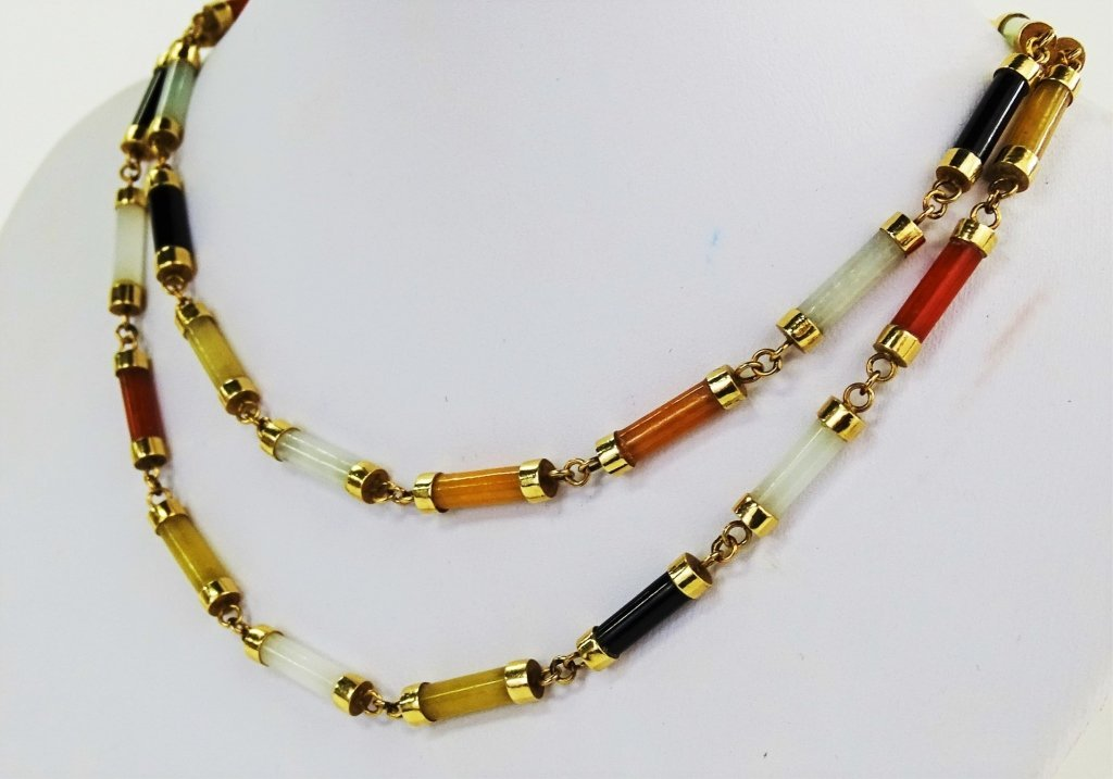 LADIES 14KT YELLOW GOLD MULTI COLOR JADE LINK NECKLACE