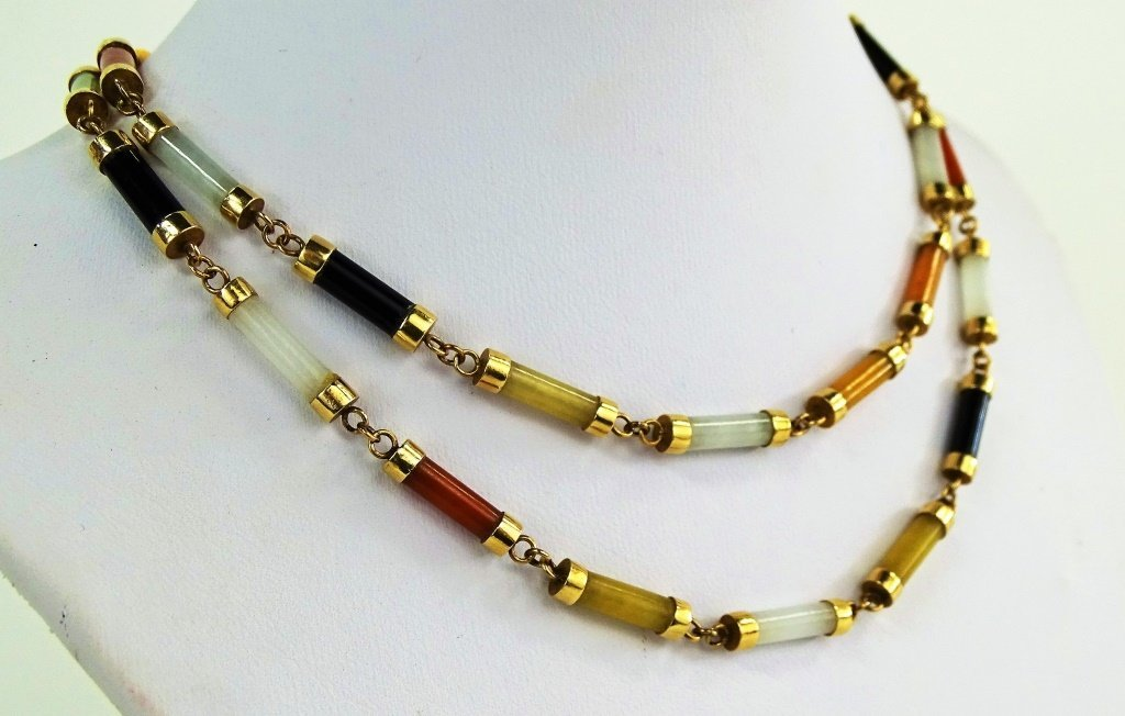 LADIES 14KT YELLOW GOLD MULTI COLOR JADE LINK NECKLACE - 2