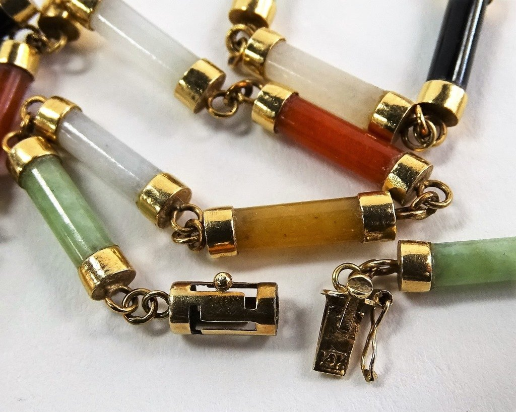LADIES 14KT YELLOW GOLD MULTI COLOR JADE LINK NECKLACE - 4