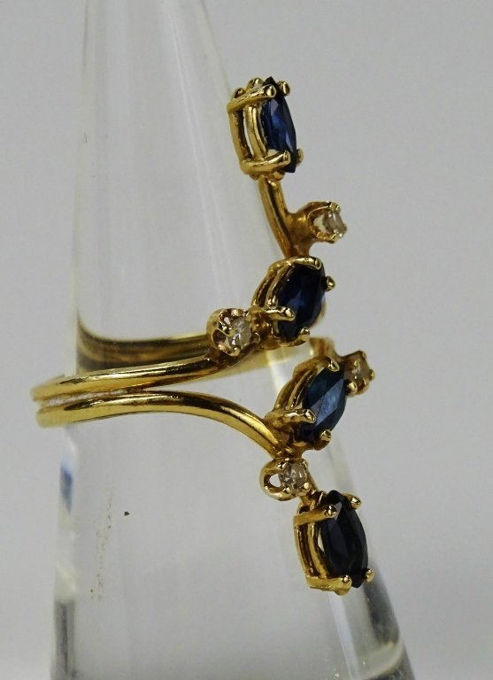 LADIES VINTAGE 14KT GOLD SAPPHIRE & DIAMOND RING - 3