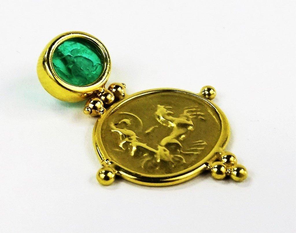 ITALIAN 18KT YELLOW GOLD & INTAGLIO GLASS PENDANT - 2
