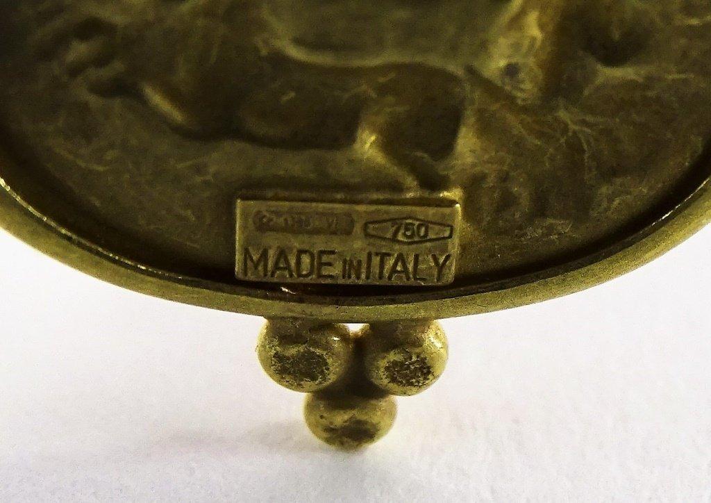 ITALIAN 18KT YELLOW GOLD & INTAGLIO GLASS PENDANT - 4
