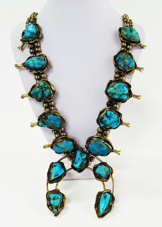 NAVAJO SQUASH BLOSSOM TURQUOISE STERLING NECKLACE