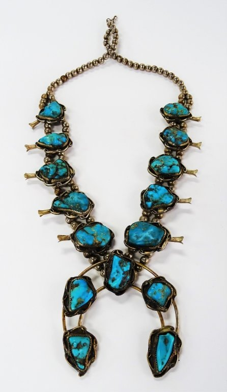 NAVAJO SQUASH BLOSSOM TURQUOISE STERLING NECKLACE - 2