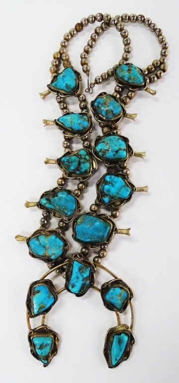 NAVAJO SQUASH BLOSSOM TURQUOISE STERLING NECKLACE - 3