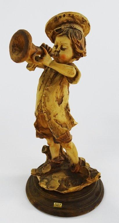 GIUSEPPE ARMANI FIGURINE BOY PLAYING TRUMPET