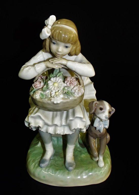 LLADRO GIRL WITH FLOWER BASKET & DOG #1088