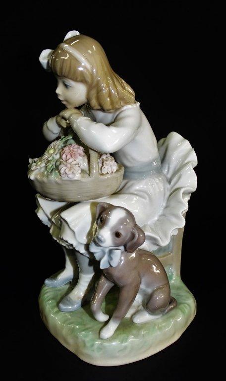 LLADRO GIRL WITH FLOWER BASKET & DOG #1088 - 3