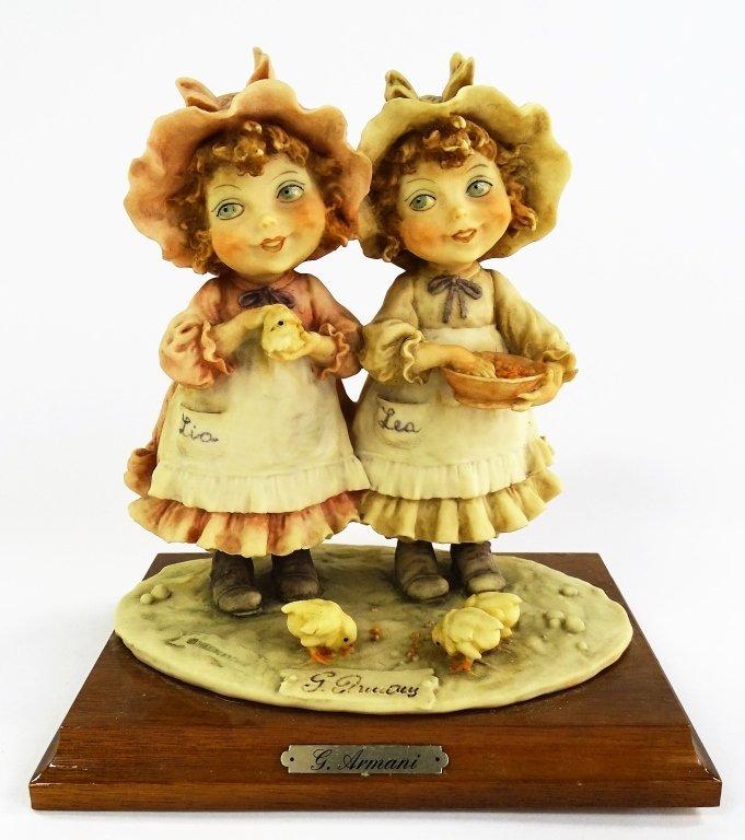 GIUSEPPE ARMANI FIGURINE OF 2 LITTLE GIRLS