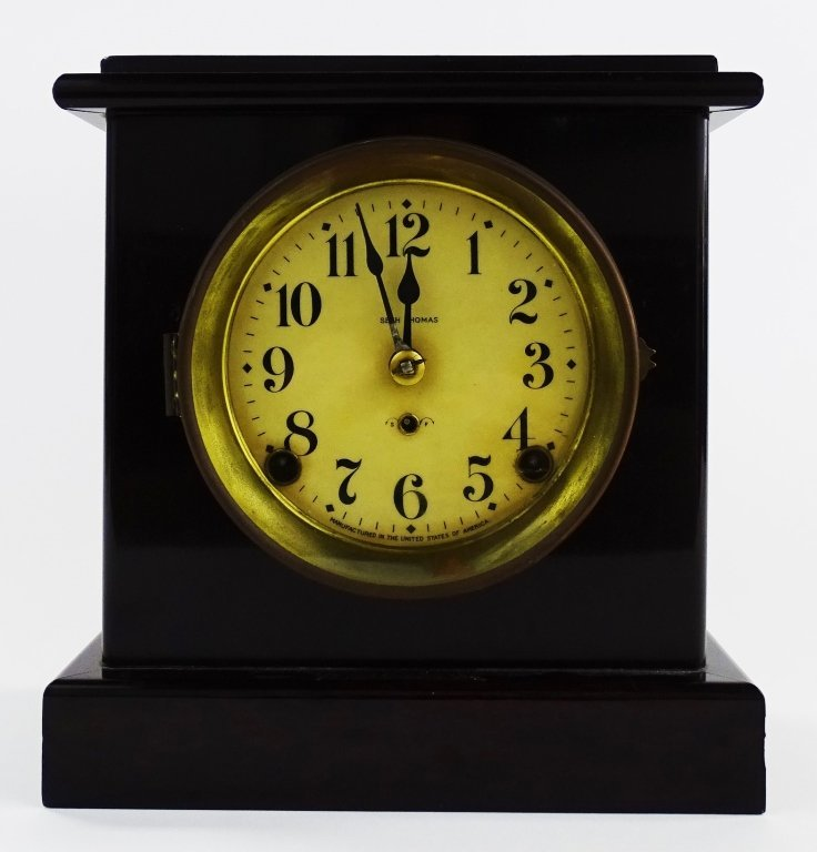 EARLY 20TH C. SETH THOMAS WOOD CASE SHELF CLOCK - 8