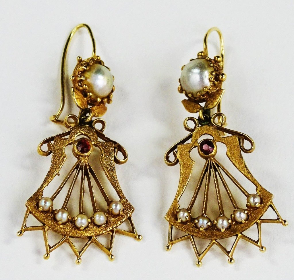PR LADIES ANTIQUE 14KT YG PEARL DROP EARRINGS