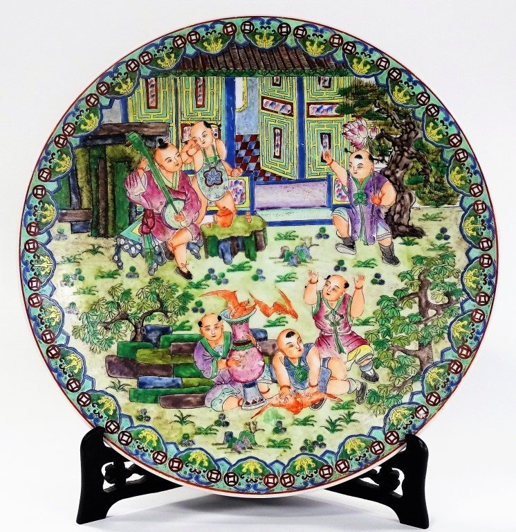 ANTIQUE CHINESE QIANLONG STYLE ENAMELED CHARGER